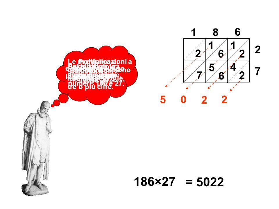 Le moltiplicazioni a gelosia si possono fare anche a due, tre o più cifre. Proviamo a moltiplicare 186×27. La griglia dovrà avere due righe. 186×27 Su