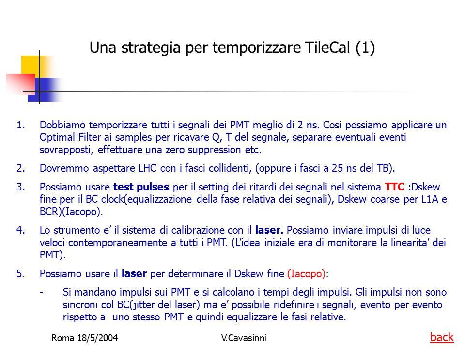 Roma 18/5/2004V.Cavasinni Una strategia per temporizzare TileCal (1) 1.Dobbiamo temporizzare tutti i segnali dei PMT meglio di 2 ns. Cosi possiamo app