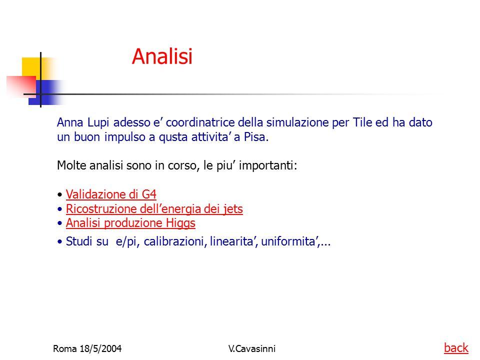 Roma 18/5/2004V.Cavasinni Analisi Anna Lupi adesso e' coordinatrice della simulazione per Tile ed ha dato un buon impulso a qusta attivita' a Pisa. Mo