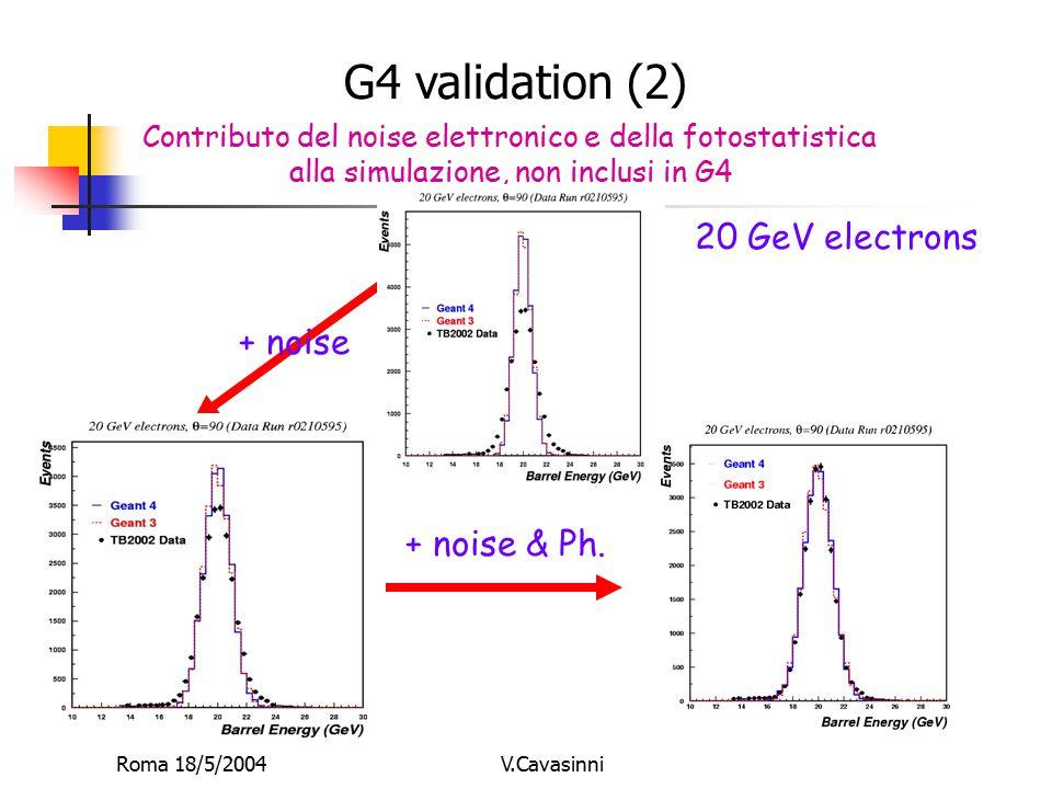 Roma 18/5/2004V.Cavasinni Contributo del noise elettronico e della fotostatistica alla simulazione, non inclusi in G4 + noise + noise & Ph. 20 GeV ele