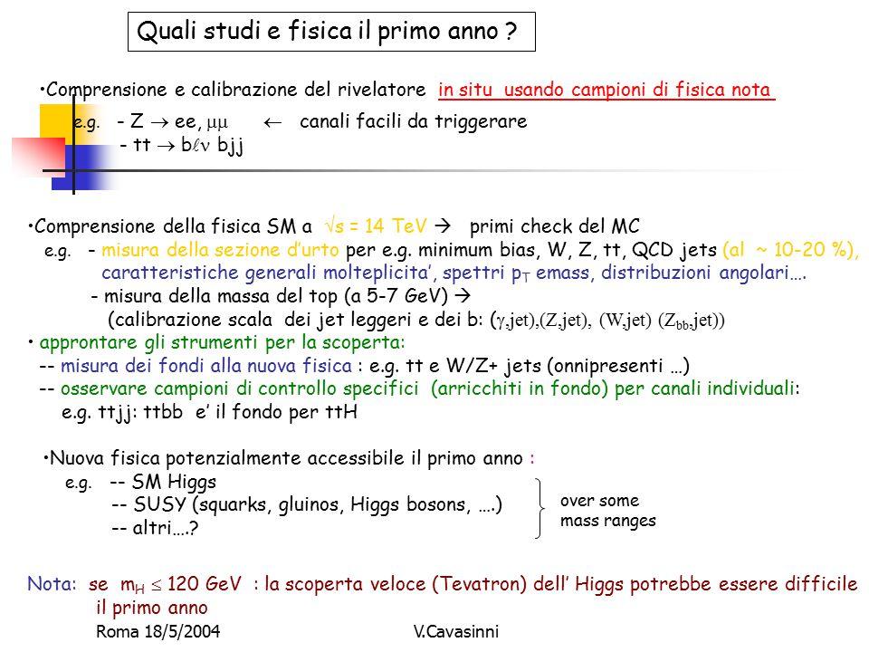 Roma 18/5/2004V.Cavasinni Quali studi e fisica il primo anno .
