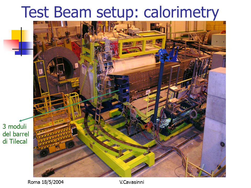 Roma 18/5/2004V.Cavasinni Test Beam setup: calorimetry 3 moduli del barrel di Tilecal