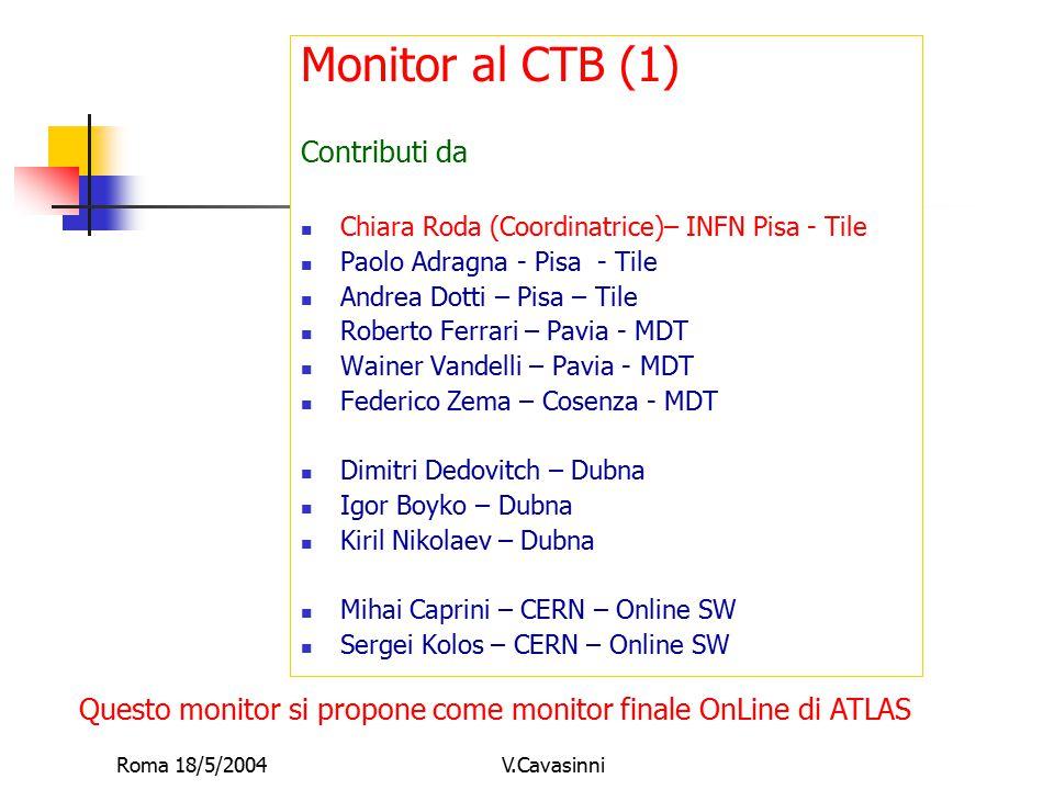 Roma 18/5/2004V.Cavasinni Monitor al CTB (1) Contributi da Chiara Roda (Coordinatrice)– INFN Pisa - Tile Paolo Adragna - Pisa - Tile Andrea Dotti – Pi