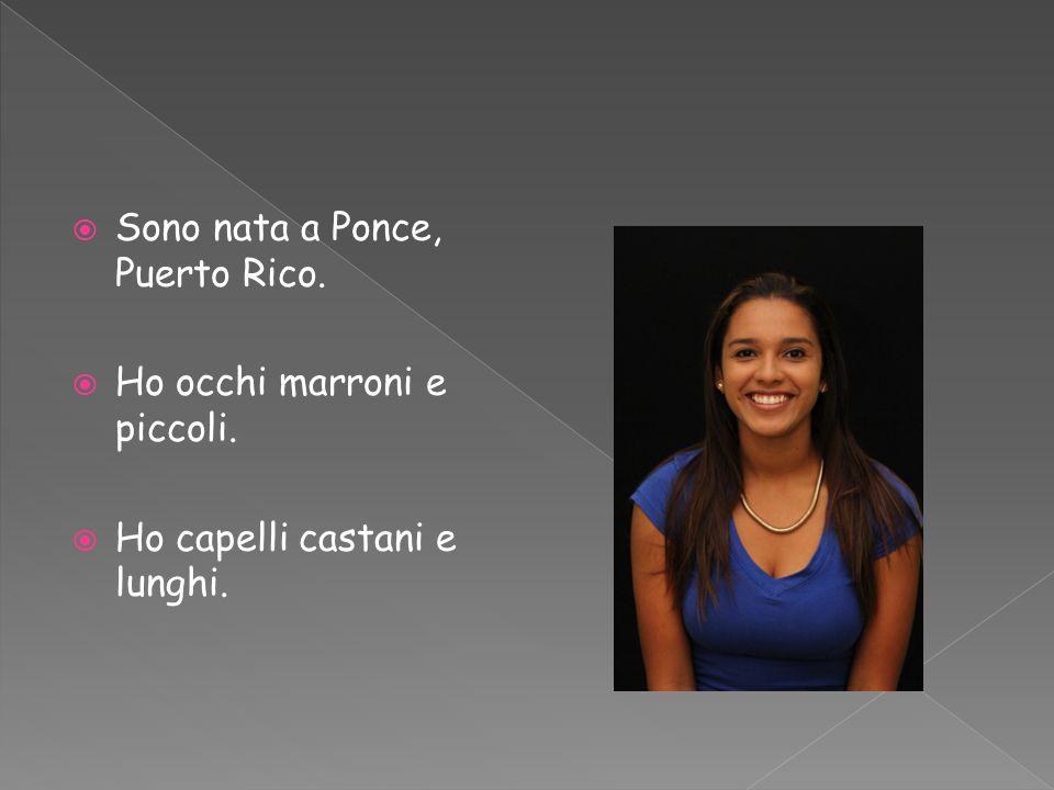  Sono nata a Ponce, Puerto Rico.  Ho occhi marroni e piccoli.  Ho capelli castani e lunghi.