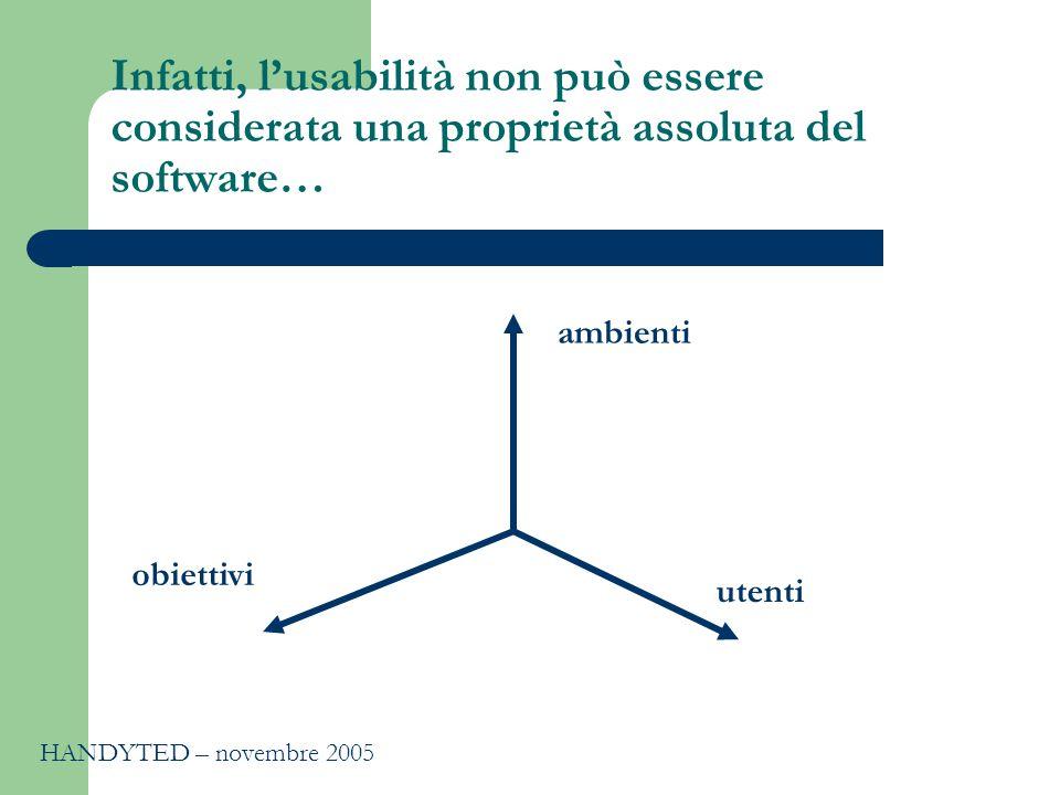 Infatti, l'usabilità non può essere considerata una proprietà assoluta del software… ambienti obiettivi utenti HANDYTED – novembre 2005
