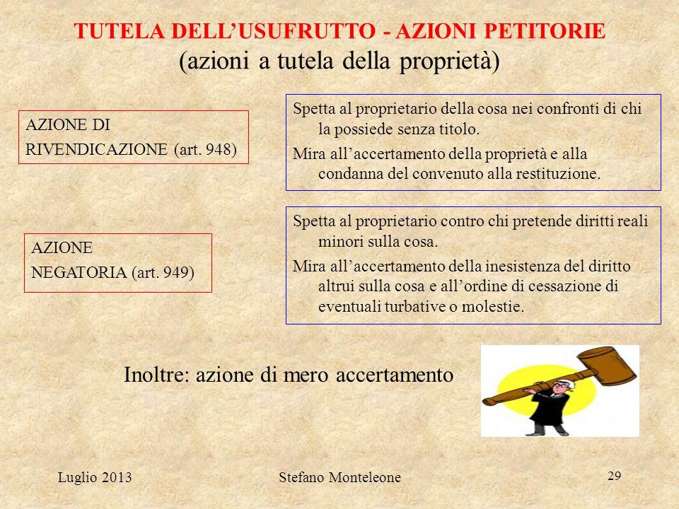 Luglio 2013Stefano Monteleone 29 TUTELA DELL'USUFRUTTO - AZIONI PETITORIE (azioni a tutela della proprietà) AZIONE DI RIVENDICAZIONE (art. 948) AZIONE