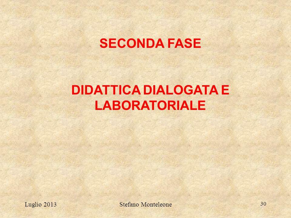 Luglio 2013Stefano Monteleone 30 SECONDA FASE DIDATTICA DIALOGATA E LABORATORIALE