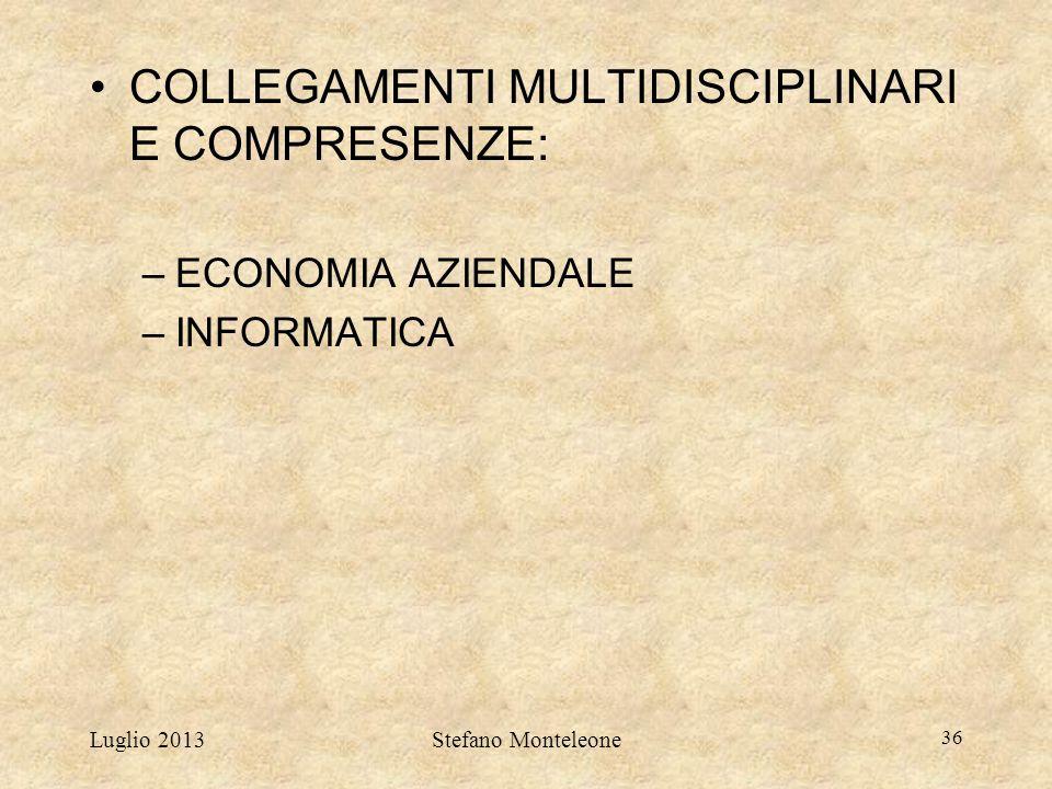 Luglio 2013Stefano Monteleone 36 COLLEGAMENTI MULTIDISCIPLINARI E COMPRESENZE: –ECONOMIA AZIENDALE –INFORMATICA