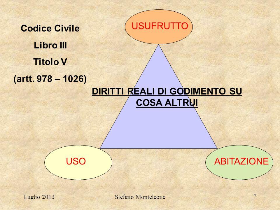 Luglio 2013Stefano Monteleone 7 DIRITTI REALI DI GODIMENTO SU COSA ALTRUI USUFRUTTO USOABITAZIONE Codice Civile Libro III Titolo V (artt. 978 – 1026)