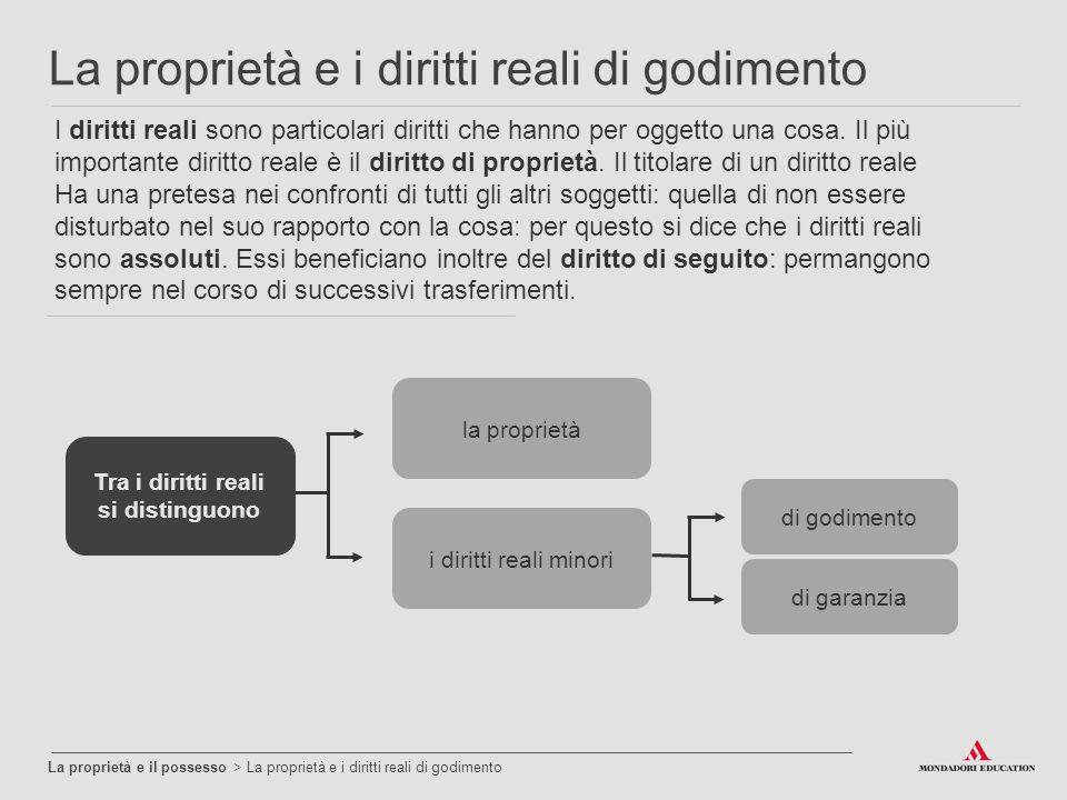 La proprietà e il possesso > La proprietà e i diritti reali di godimento La proprietà e i diritti reali di godimento I diritti reali sono particolari