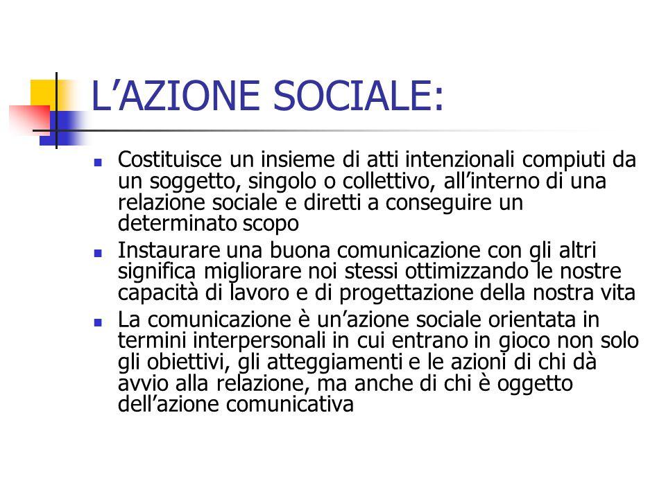 L'AZIONE SOCIALE: Costituisce un insieme di atti intenzionali compiuti da un soggetto, singolo o collettivo, all'interno di una relazione sociale e di