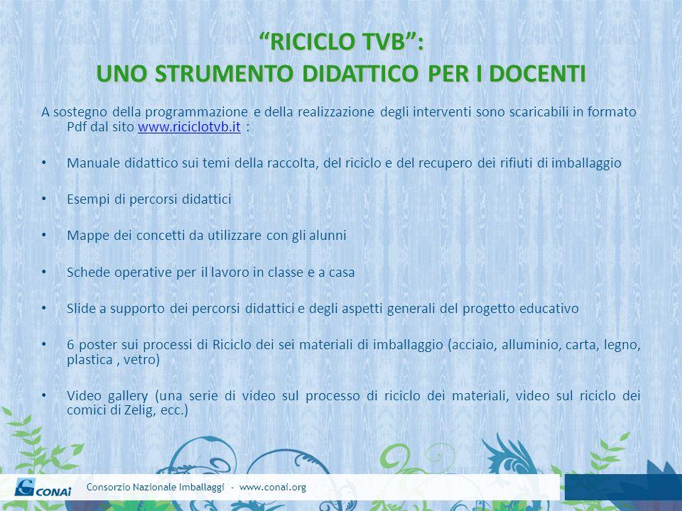 """Consorzio Nazionale Imballaggi - www.conai.org """"RICICLO TVB"""": UNO STRUMENTO DIDATTICO PER I DOCENTI A sostegno della programmazione e della realizzazi"""