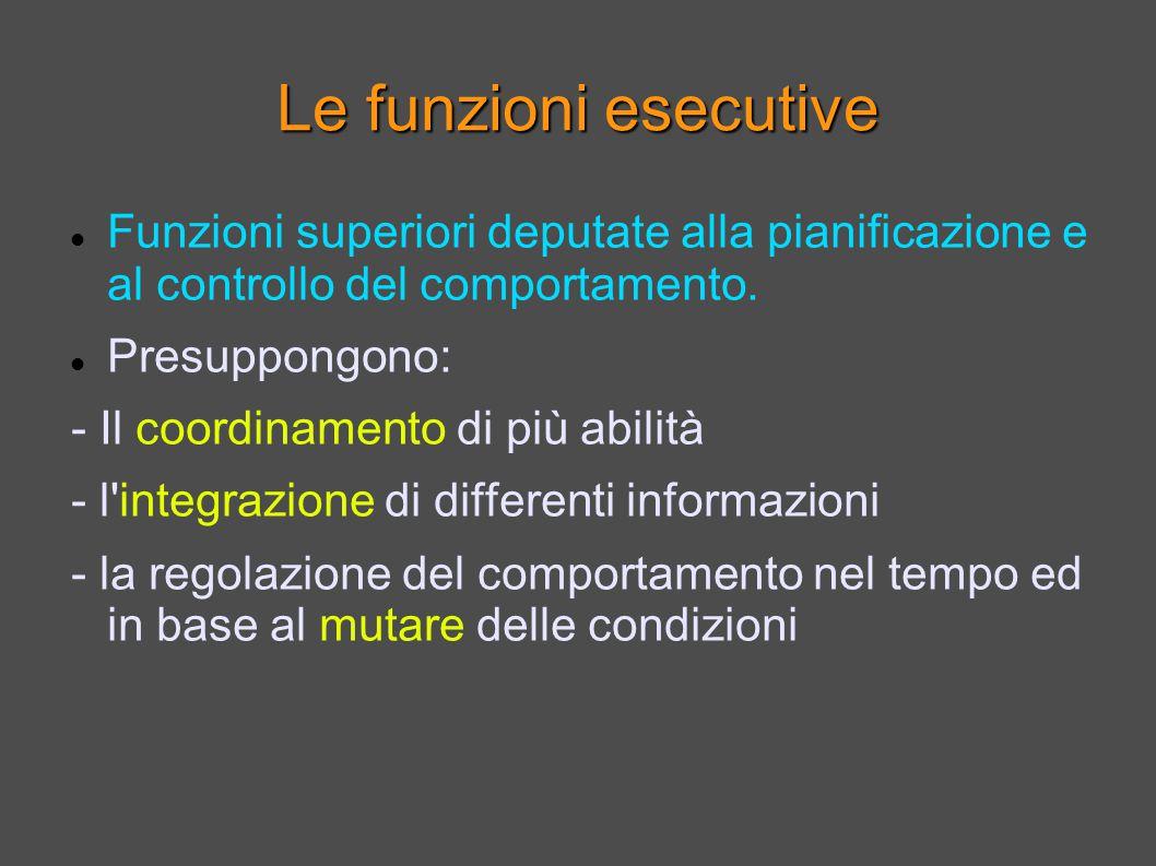 Le funzioni esecutive Funzioni superiori deputate alla pianificazione e al controllo del comportamento.
