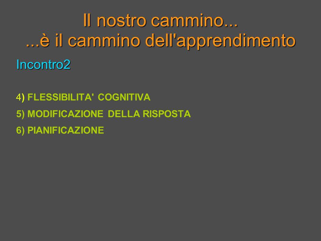 Il nostro cammino......è il cammino dell apprendimento Incontro2 4) FLESSIBILITA COGNITIVA 5) MODIFICAZIONE DELLA RISPOSTA 6) PIANIFICAZIONE