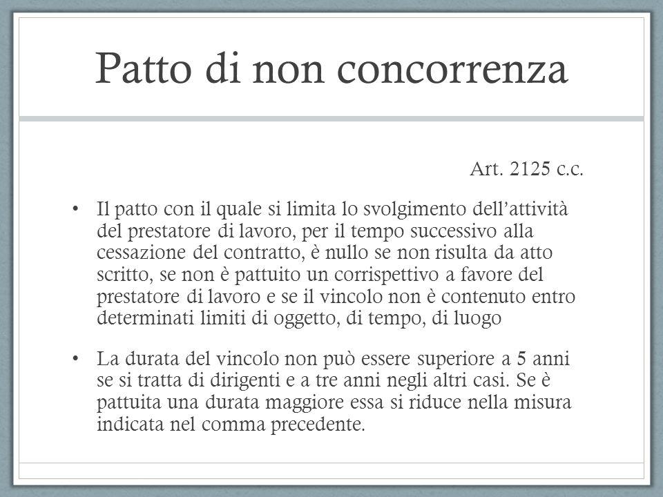 Patto di non concorrenza Art. 2125 c.c. Il patto con il quale si limita lo svolgimento dell'attività del prestatore di lavoro, per il tempo successivo