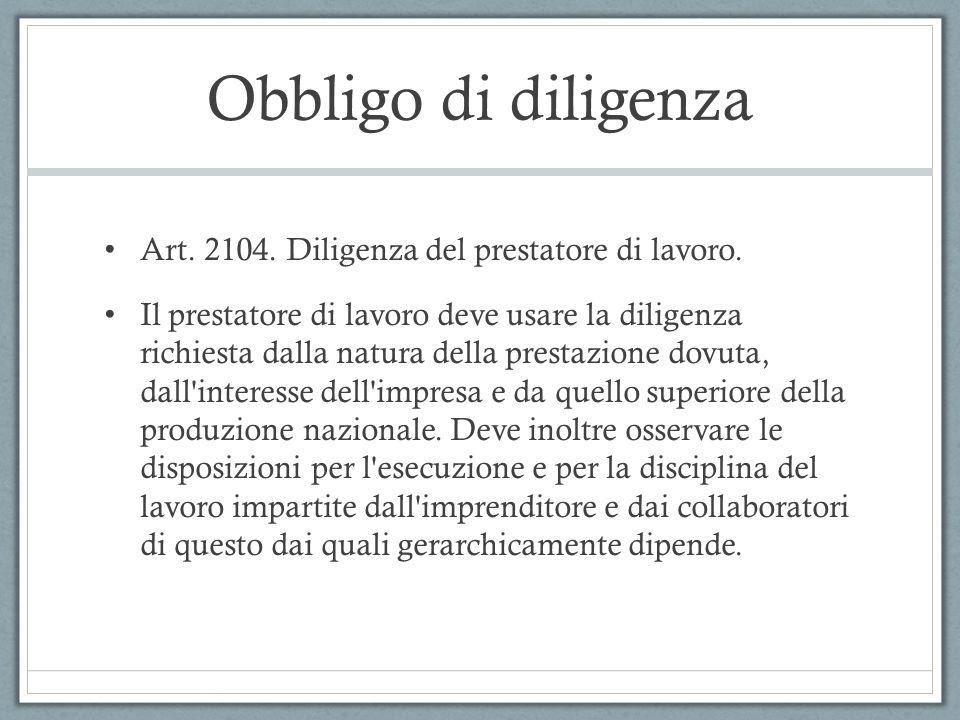 Obbligo di diligenza Art.2104. Diligenza del prestatore di lavoro.