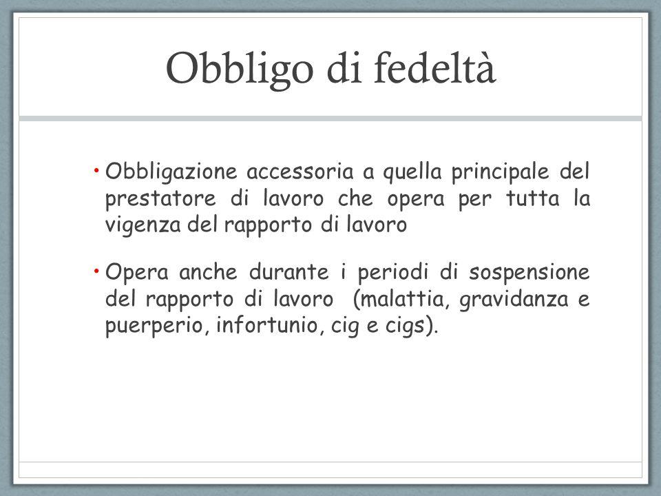 Obbligo di fedeltà Obbligazione accessoria a quella principale del prestatore di lavoro che opera per tutta la vigenza del rapporto di lavoro Opera an