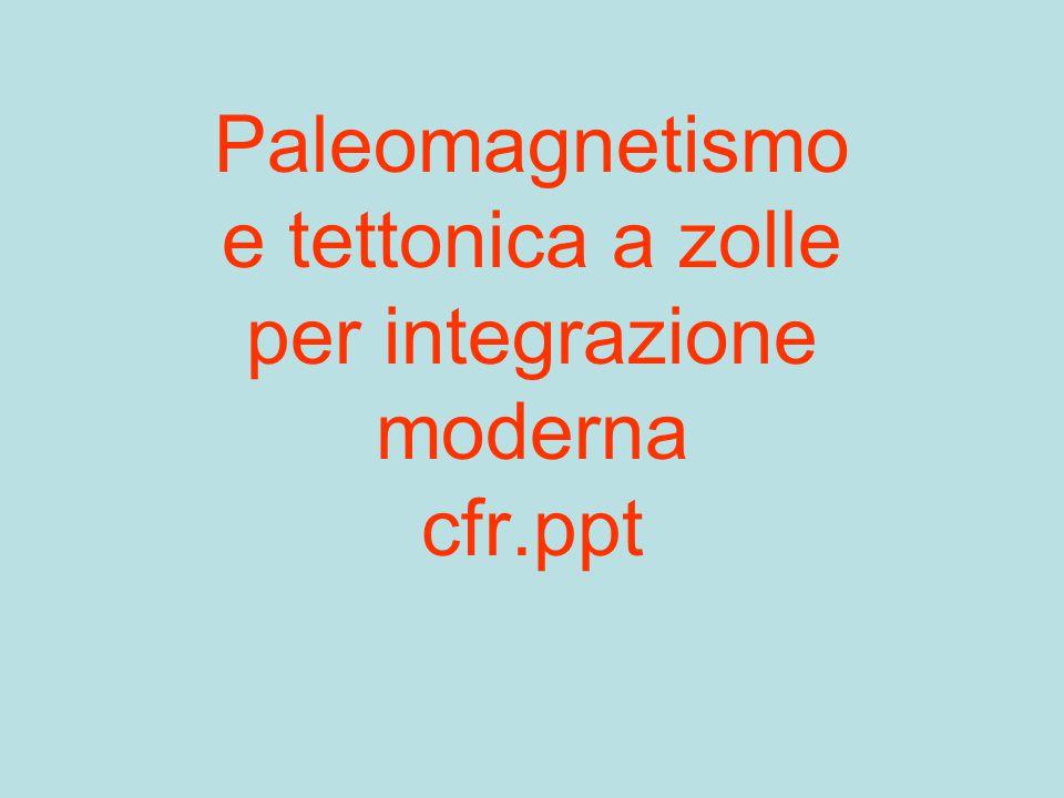 Paleomagnetismo e tettonica a zolle per integrazione moderna cfr.ppt