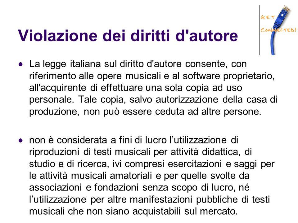 Violazione dei diritti d autore La legge italiana sul diritto d autore consente, con riferimento alle opere musicali e al software proprietario, all acquirente di effettuare una sola copia ad uso personale.