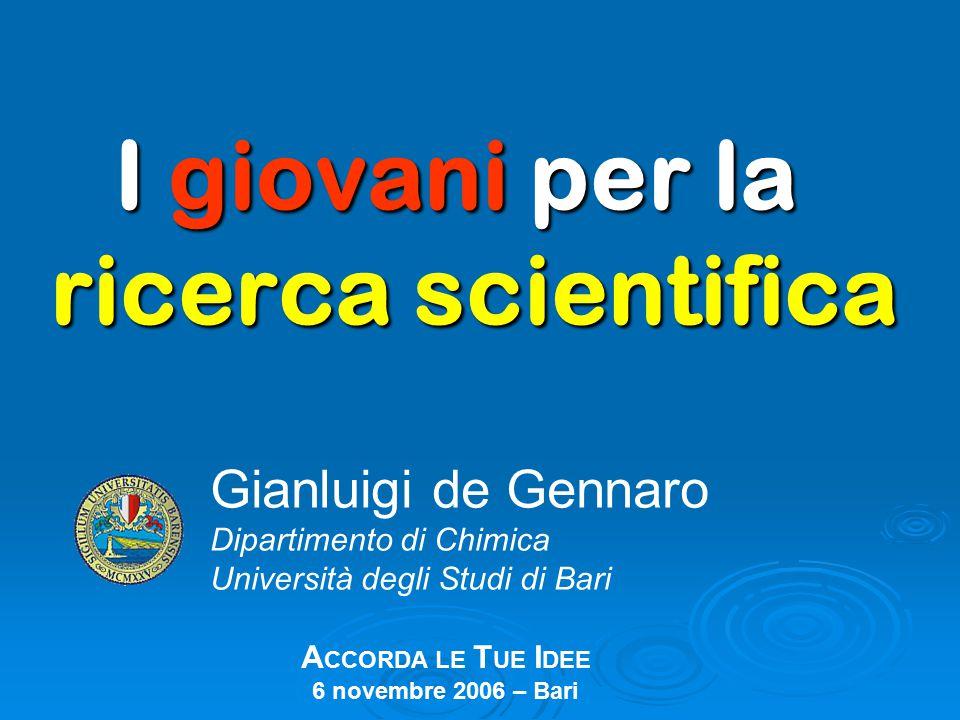 I giovani per la ricerca scientifica Gianluigi de Gennaro Dipartimento di Chimica Università degli Studi di Bari A CCORDA LE T UE I DEE 6 novembre 2006 – Bari