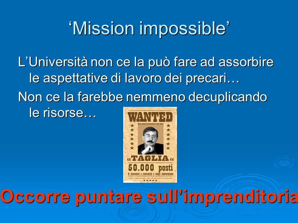 'Mission impossible' L'Università non ce la può fare ad assorbire le aspettative di lavoro dei precari… Non ce la farebbe nemmeno decuplicando le risorse… Occorre puntare sull'imprenditoria