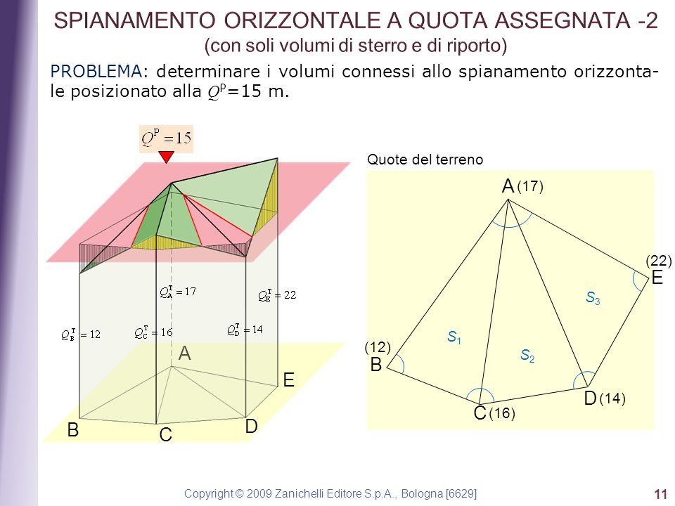 Copyright © 2009 Zanichelli Editore S.p.A., Bologna [6629] 11 PROBLEMA: determinare i volumi connessi allo spianamento orizzonta- le posizionato alla Q P =15 m.