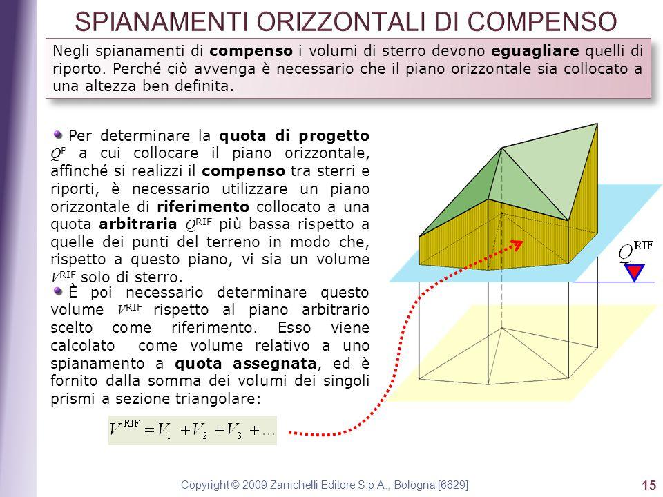 Copyright © 2009 Zanichelli Editore S.p.A., Bologna [6629] 15 Negli spianamenti di compenso i volumi di sterro devono eguagliare quelli di riporto.