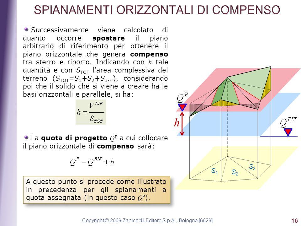 Copyright © 2009 Zanichelli Editore S.p.A., Bologna [6629] 16 Successivamente viene calcolato di quanto occorre spostare il piano arbitrario di riferimento per ottenere il piano orizzontale che genera compenso tra sterro e riporto.