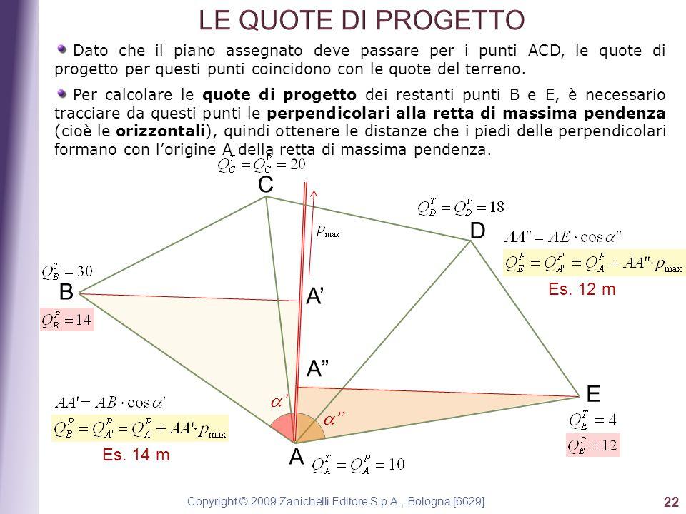 Copyright © 2009 Zanichelli Editore S.p.A., Bologna [6629] 22 Dato che il piano assegnato deve passare per i punti ACD, le quote di progetto per questi punti coincidono con le quote del terreno.