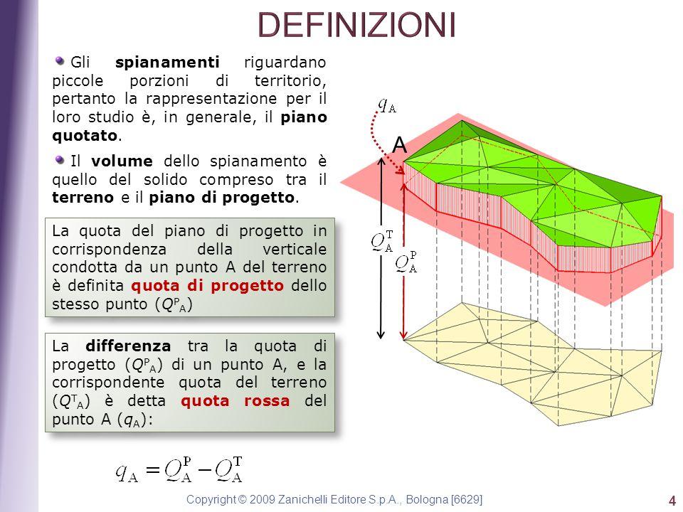 Copyright © 2009 Zanichelli Editore S.p.A., Bologna [6629] 4 Gli spianamenti riguardano piccole porzioni di territorio, pertanto la rappresentazione per il loro studio è, in generale, il piano quotato.