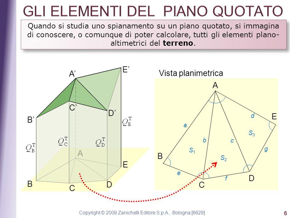 Copyright © 2009 Zanichelli Editore S.p.A., Bologna [6629] 6 Quando si studia uno spianamento su un piano quotato, si immagina di conoscere, o comunque di poter calcolare, tutti gli elementi plano- altimetrici del terreno.
