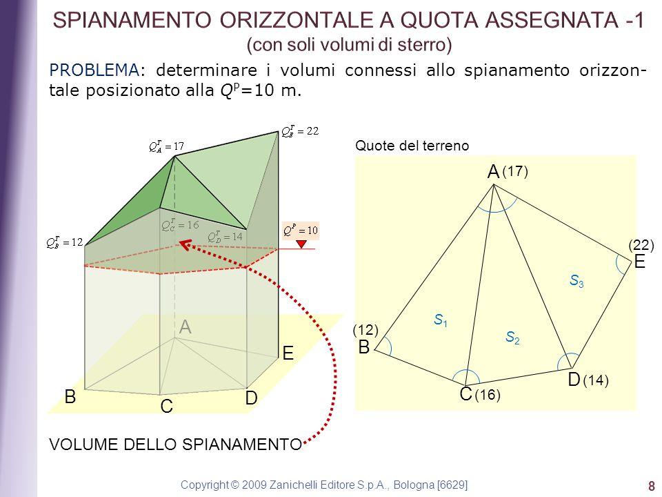 Copyright © 2009 Zanichelli Editore S.p.A., Bologna [6629] 8 PROBLEMA: determinare i volumi connessi allo spianamento orizzon- tale posizionato alla Q P =10 m.