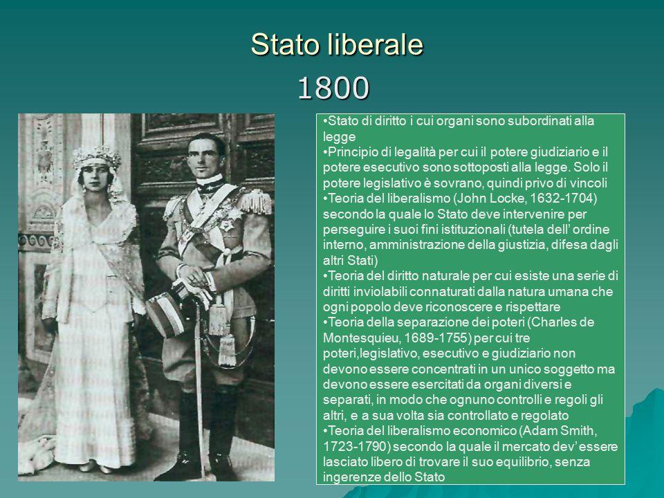 Stato liberale Stato liberale 1800 Stato di diritto i cui organi sono subordinati alla legge Principio di legalità per cui il potere giudiziario e il