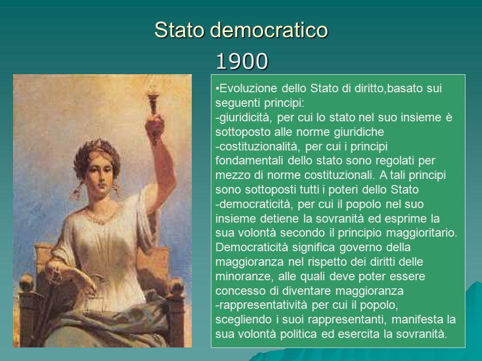 Stato democratico 1900 Evoluzione dello Stato di diritto,basato sui seguenti principi: -giuridicità, per cui lo stato nel suo insieme è sottoposto all