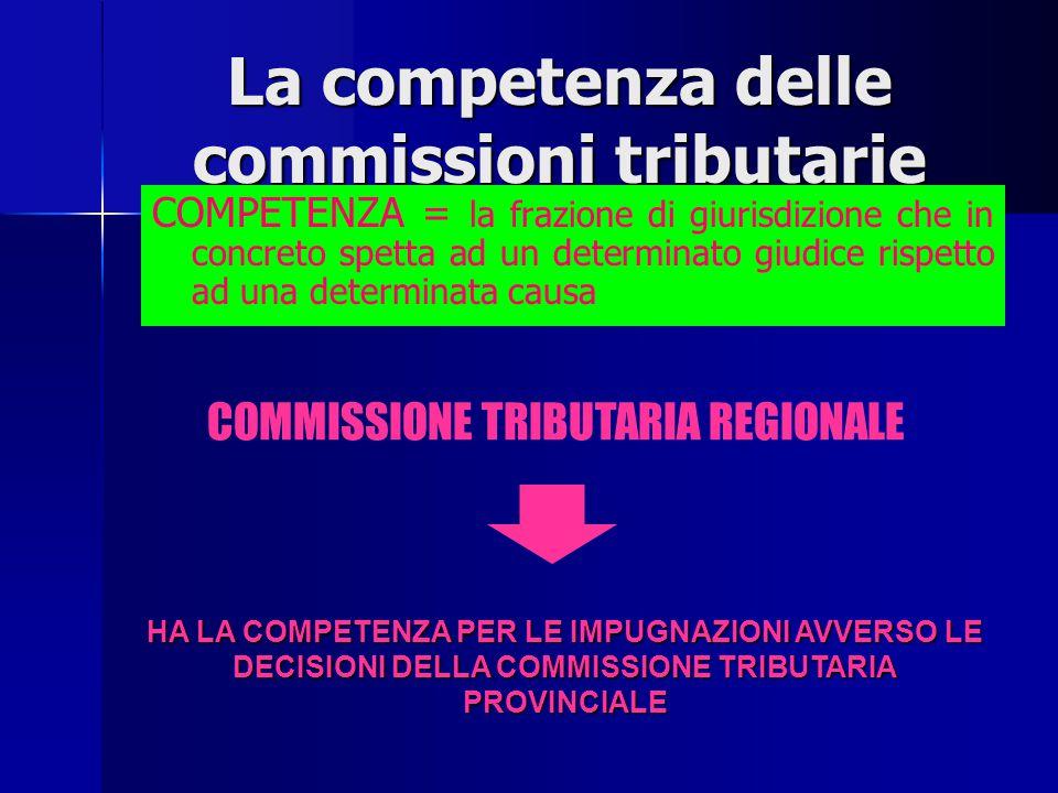 LA COMPETENZA DELLE COMMISSIONI TRIBUTARIE COMPETENZA = la frazione di giurisdizione che in concreto spetta ad un determinato giudice rispetto ad una