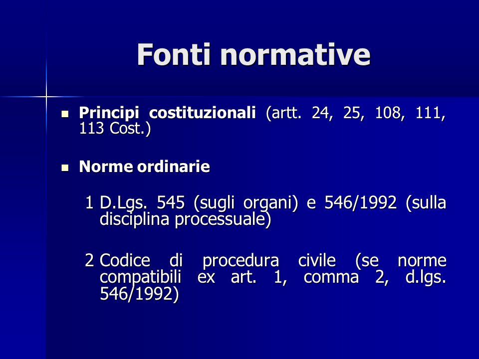Fonti normative Principi costituzionali (artt.