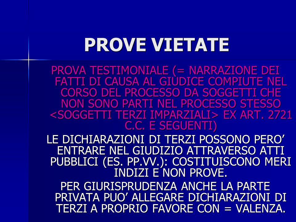 PROVE AMMESSE SOLO QUELLE DOCUMENTALI