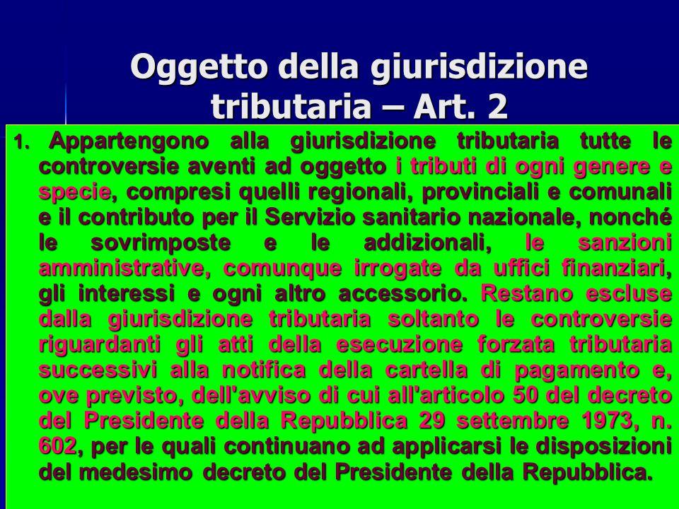 Oggetto della giurisdizione tributaria – Art.2 1.