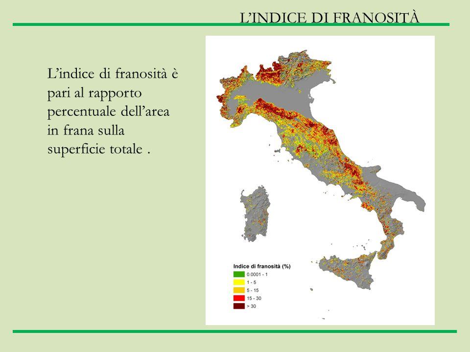 L'indice di franosità è pari al rapporto percentuale dell'area in frana sulla superficie totale. L'INDICE DI FRANOSITÀ