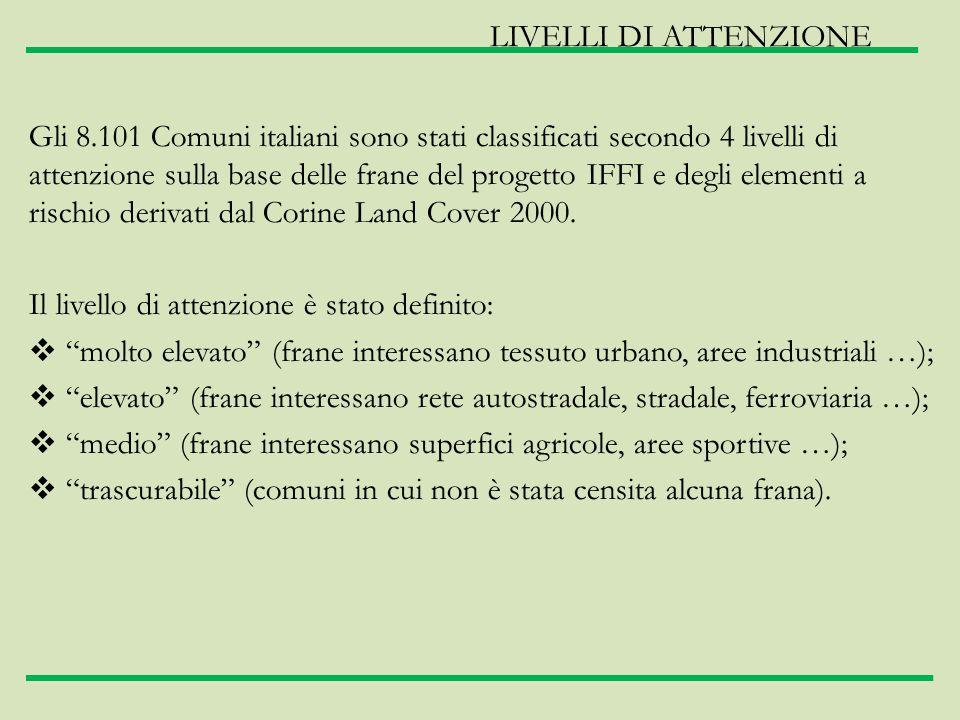 Gli 8.101 Comuni italiani sono stati classificati secondo 4 livelli di attenzione sulla base delle frane del progetto IFFI e degli elementi a rischio