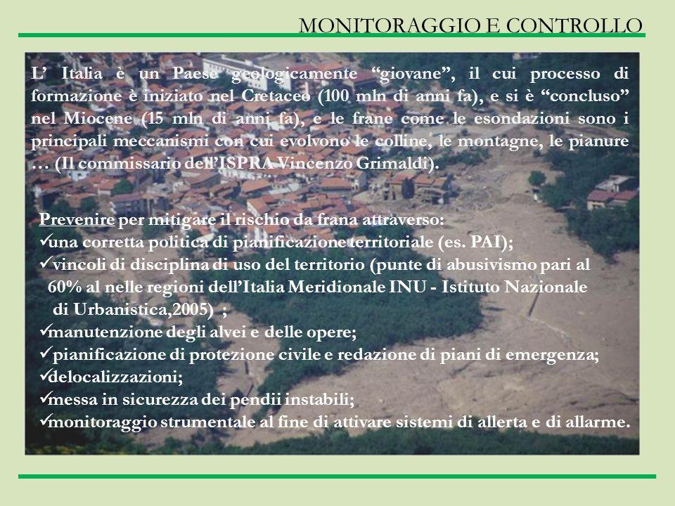 MONITORAGGIO E CONTROLLO Prevenire per mitigare il rischio da frana attraverso: una corretta politica di pianificazione territoriale (es. PAI); vincol