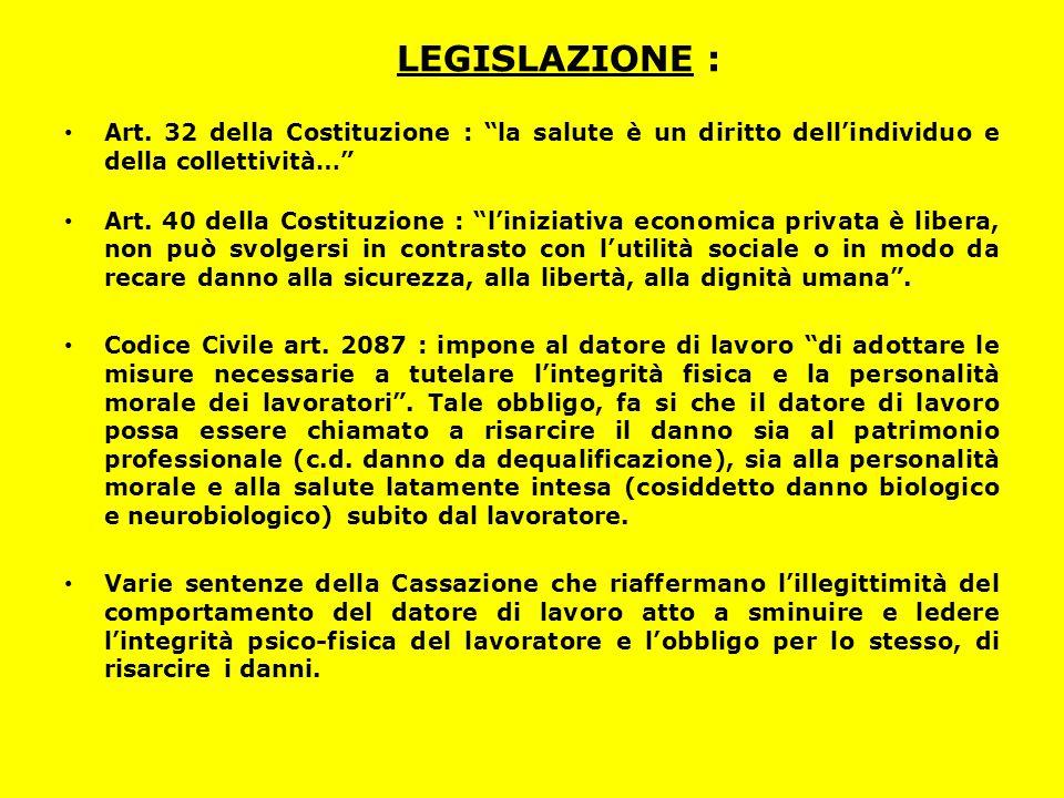 """LEGISLAZIONE : Art. 32 della Costituzione : """"la salute è un diritto dell'individuo e della collettività…"""" Art. 40 della Costituzione : """"l'iniziativa e"""