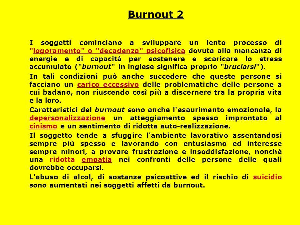 Burnout 2 I soggetti cominciano a sviluppare un lento processo di