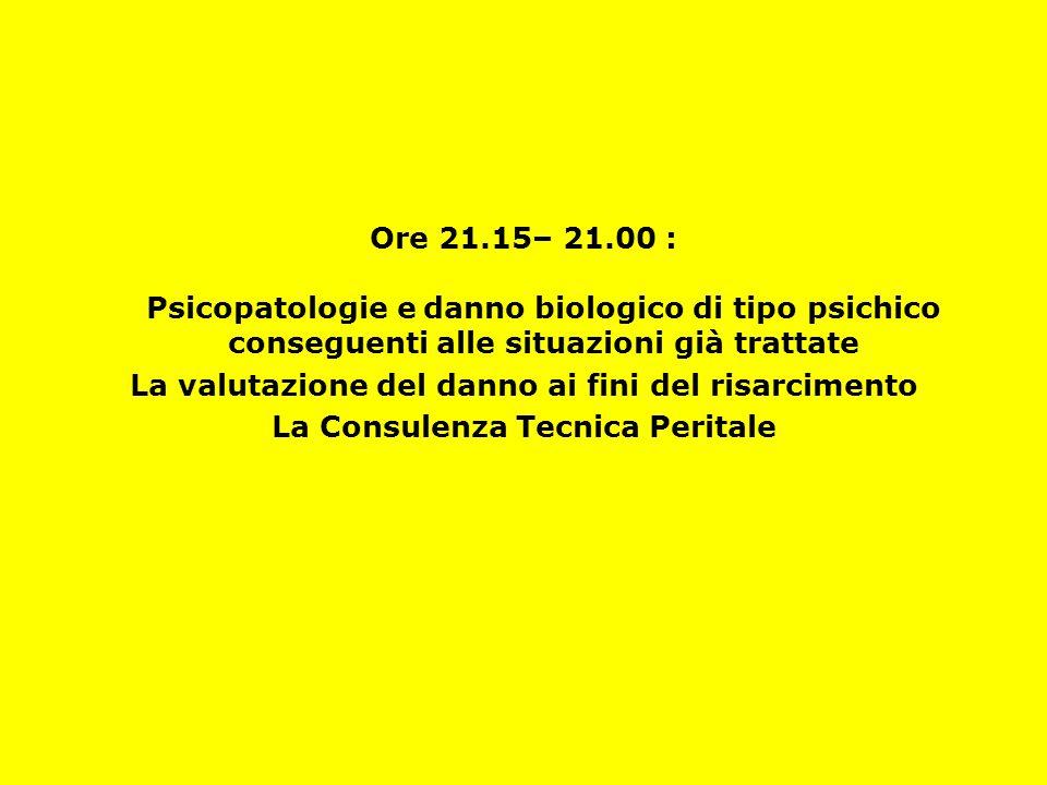 Ore 21.15– 21.00 : Psicopatologie e danno biologico di tipo psichico conseguenti alle situazioni già trattate La valutazione del danno ai fini del ris