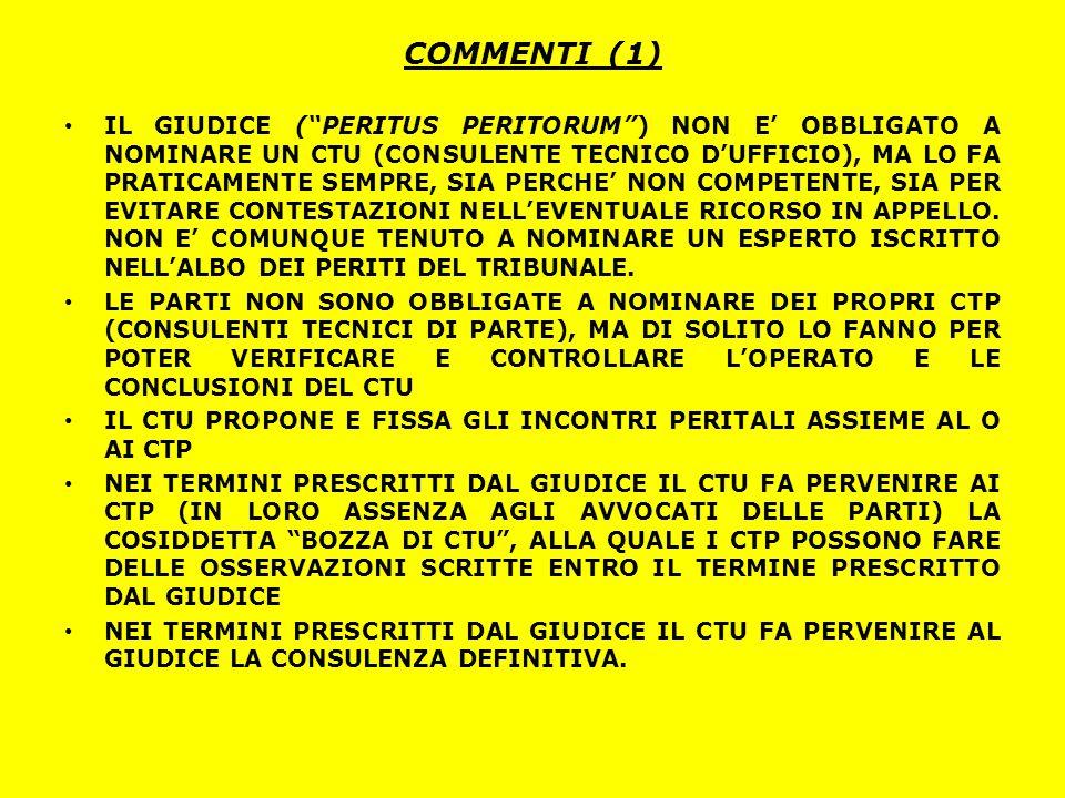 """COMMENTI (1) IL GIUDICE (""""PERITUS PERITORUM"""") NON E' OBBLIGATO A NOMINARE UN CTU (CONSULENTE TECNICO D'UFFICIO), MA LO FA PRATICAMENTE SEMPRE, SIA PER"""