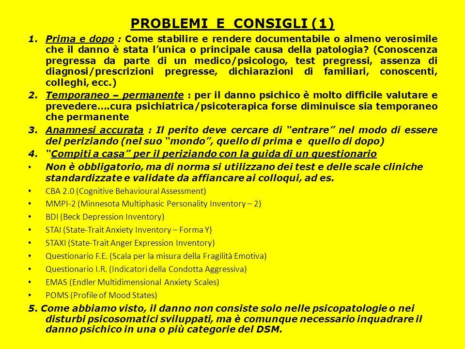 PROBLEMI E CONSIGLI (1) 1.Prima e dopo : Come stabilire e rendere documentabile o almeno verosimile che il danno è stata l'unica o principale causa de