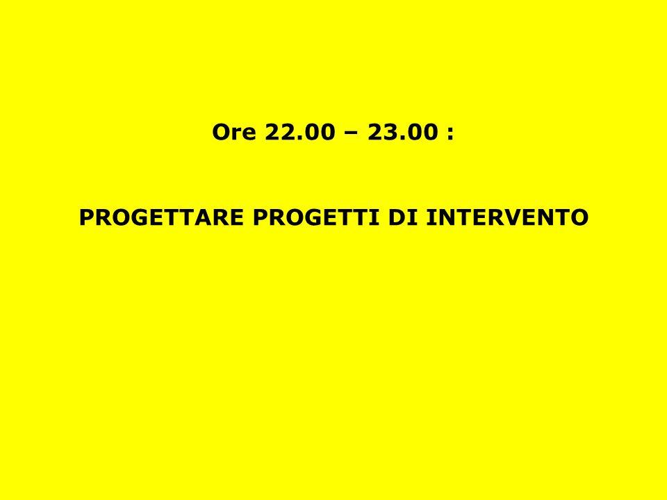 Ore 22.00 – 23.00 : PROGETTARE PROGETTI DI INTERVENTO