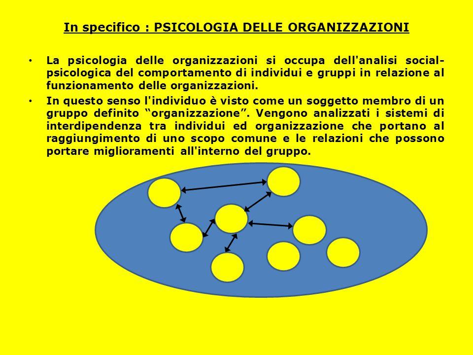 In specifico : PSICOLOGIA DELLE ORGANIZZAZIONI La psicologia delle organizzazioni si occupa dell'analisi social- psicologica del comportamento di indi