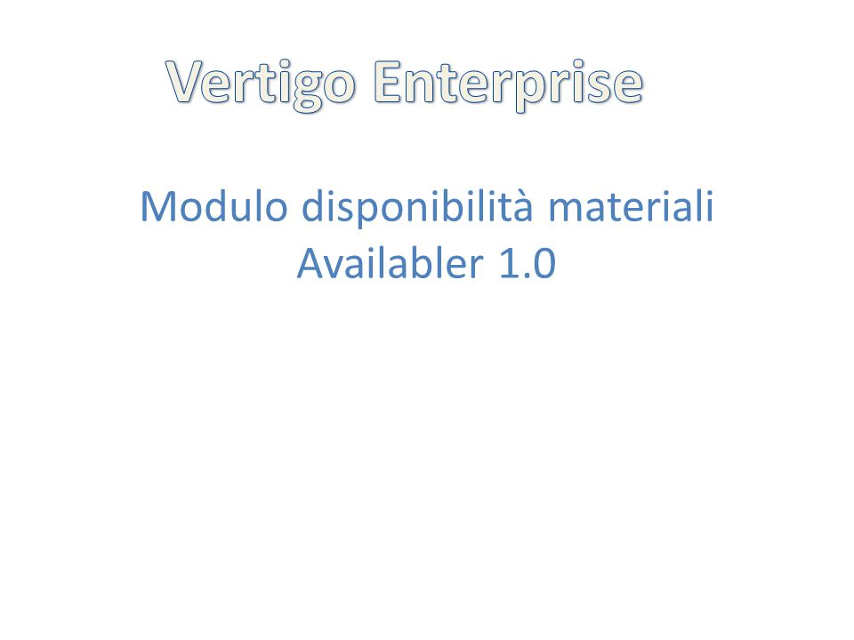 Modulo disponibilità materiali Availabler 1.0