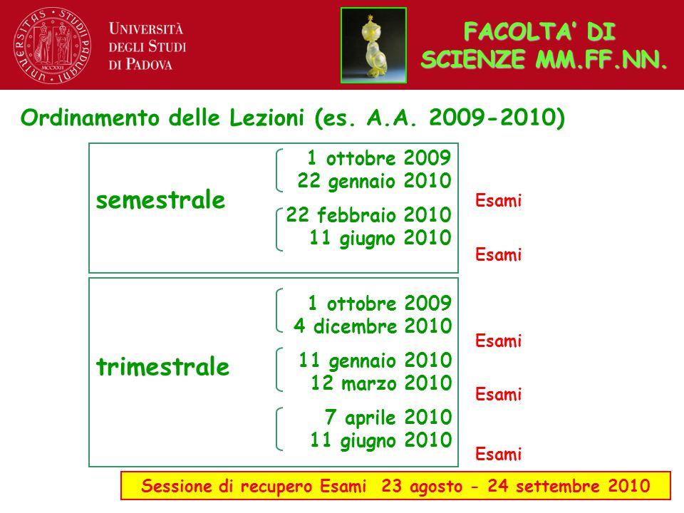 Ordinamento delle Lezioni (es. A.A. 2009-2010) Sessione di recupero Esami 23 agosto - 24 settembre 2010 semestrale trimestrale 1 ottobre 2009 22 genna